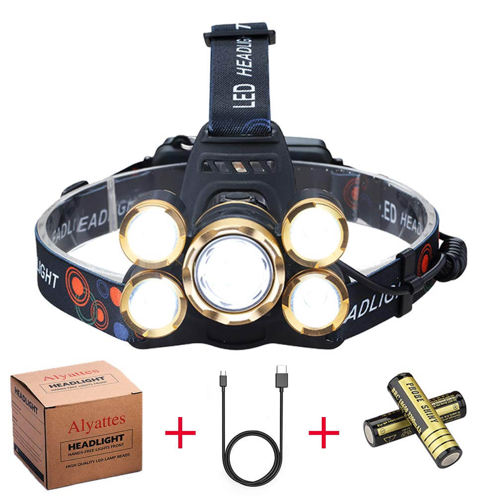 NEWEST Headlamp 12000 Lumen Brightest CREE LED Work Headlight USB Rechargeable, 4 Modes IPX4 Waterproof Zoomable Head Lamp Best Head Lights for Camping Cycling Hiking Outdoors by Alyattes (Image #1)