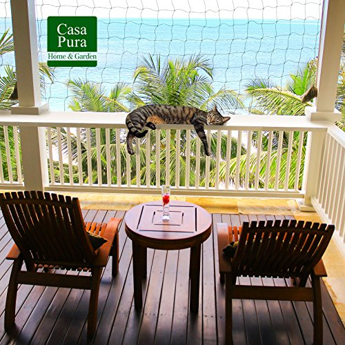 casa pura® Katzennetz   mit Befestigungsseil   Katzenschutz für Balkon, Terrasse, Fenster und Tür   reißfest, aus hochfestem Nylon   2,5 x 6 m