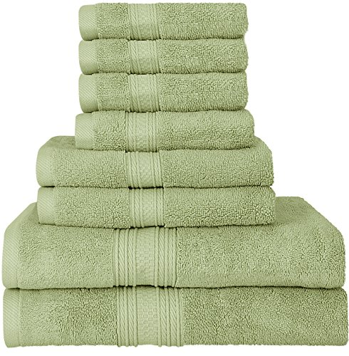 Premium 700 GSM 8 Piece Towel Set; 2 Bath Towels, 2 Hand Towels and 4 Washcloths - Cotton - Machine Washable, Hotel Quality, Super Soft and Highly Absorbent by Utopia Towels (Sage Green) (Green Towel)