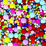 LoveS 1000 Pcs Pom Poms Craft Making Assorted Sizes & Colors, Creative Craft DIY Material