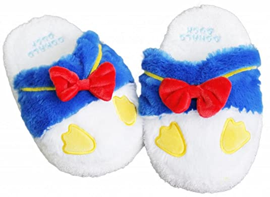 Mickey and Donald: Women's Donald Duck Plush Slippers Size 7-9