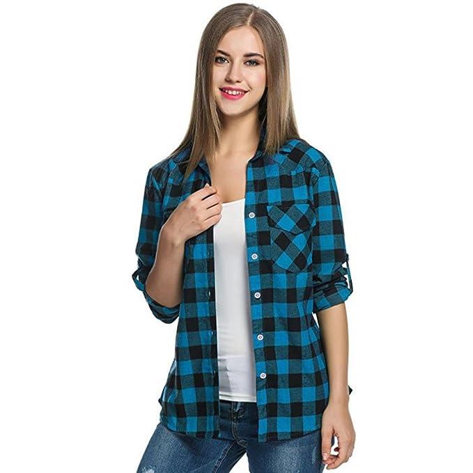 QinMM Camisa de Cuadros de otoño para Mujer, botón Blusa de Moda Casual Camiseta Tops