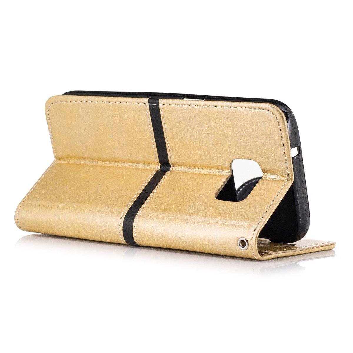 /Étui Samsung Galaxy S7 scheam livre Flip Coque /Étui portefeuille Premium PU Housse en cuir B/équille Feature /Étui de protection pour samsung galaxy S7/Golden Golden Support pour slot pour cartes