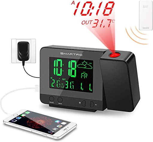 SMARTRO SC31B Digital Projection Alarm Clock with Weather Station, Indoor Outdoor Thermometer, USB Charger, Dual Alarm Clocks for Bedrooms, AC Battery Operated