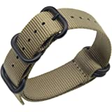 High-end Superior NATO Style Ballistic Nylon Watch Band Strap Replacement for Men Braided in Grey/Khaki