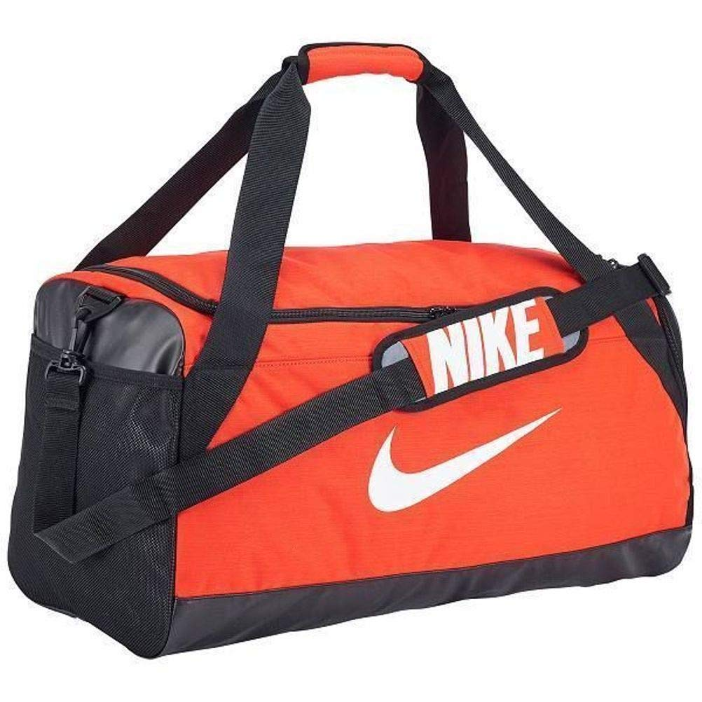 NIKE Brasilia Duffel Sports Gym Bag, Medium - Orange/Black, 3723 cu.in (BA5334-891)