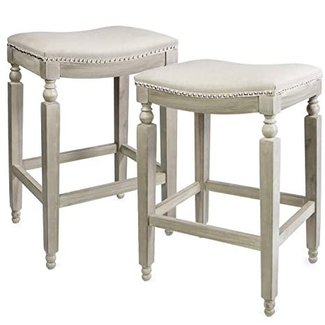 Wondrous Barton Set Of 2 Premium Padded Counter Saddle Backless 28 5 Height Bar Stool Nailhead Cushion Seat Footrest Beige Cjindustries Chair Design For Home Cjindustriesco
