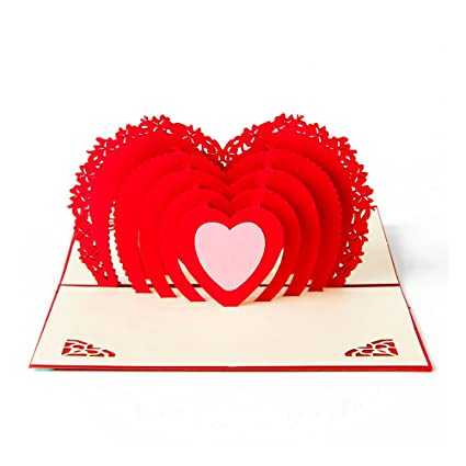Buy Hearts 3D Pop Up Greeting Card Handmade Valentines Day Online At Low Prices In India