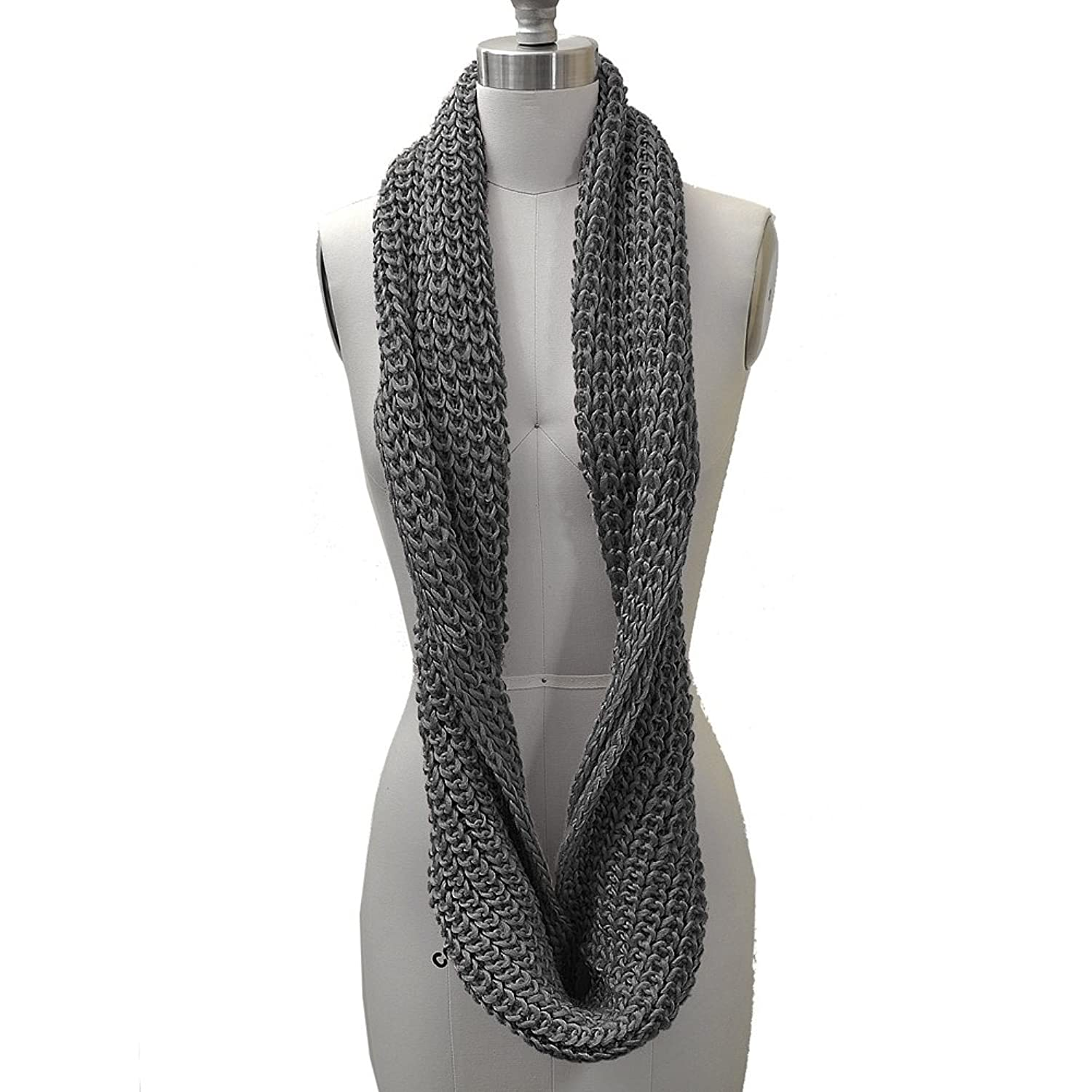 HUE21 Women's Chunky Knit Infinity Scarf Grey Color at Amazon ...