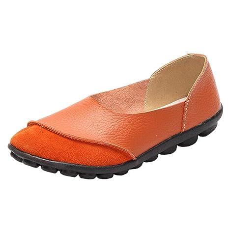 Mocasines Planos de Gamuza sin Cordones para Mujer (Color : Naranja, tamaño : 3