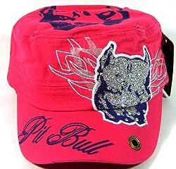 Rhinestone Pink Pit Bull Glitter Cadet Hat
