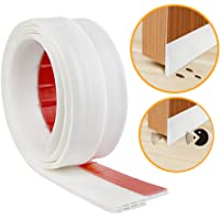 YOUSHARES Door Bottom Seal Rubber Strip - Self-Adhesive Draught Excluder, Under Door Sweep Weather Stripping, Anti-Noise, Anti-Bug, 3 Feets in White