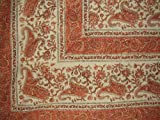 Rajasthan Block Print Paisley Tapestry Cotton Spread 104'' x 70'' Twin Orange