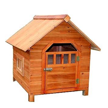 LDFN Caseta De Perro De Interior Y Exterior De Madera Maciza Perrera De Lluvia Perrera Ambiental Gatos Del Abeto Anidan Casa De Mascotas ,Brown-88*77*71cm: ...
