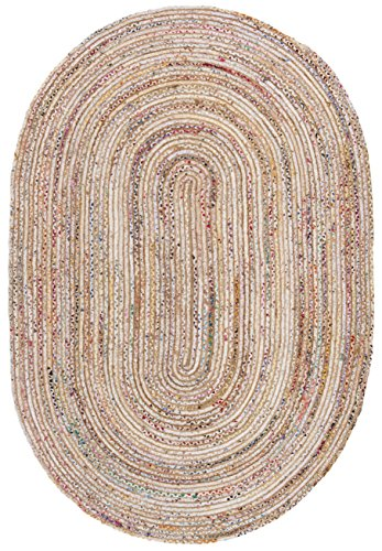 Safavieh Cape Cod Collection CAP202B Handmade Beige and Multicolored Jute Oval Area Rug (6' x 9')