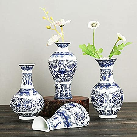 OYJJ Wall-Mounted Ceramic vase Classical Blue-and-White Porcelain vase Wall-Mounted Traditional Chinese Porcelain vase Flower Painting Home Decoration-#1