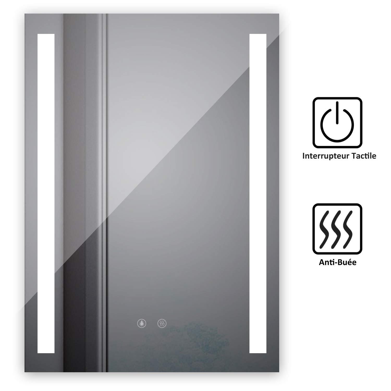 Lampe miroir salle de bain Miroir Salle De Bain avec /éclairage Int/égr/é LED Et Fonction Anti Bu/ée Blanc Froid 6500K L50 x H70cm Standard SOGOO/® Miroir Mural Miroir LED pour salle de bain