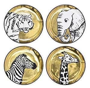 Jonathan Adler Porcelain Designer Coasters Animalia Gold & Black - Set of 4