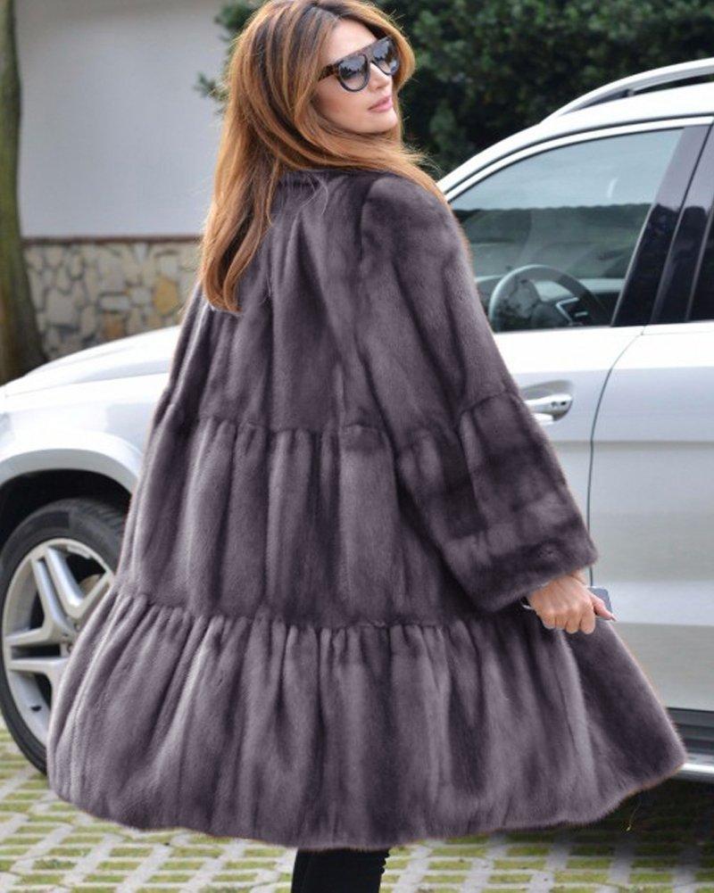 Aofur Luxury Faux Fur Parka Coat Long Lapel Trech Jacket Winter Outerwear Warm Overcoat Women Size S-XXXL (Medium, Grey) by Aofur (Image #2)