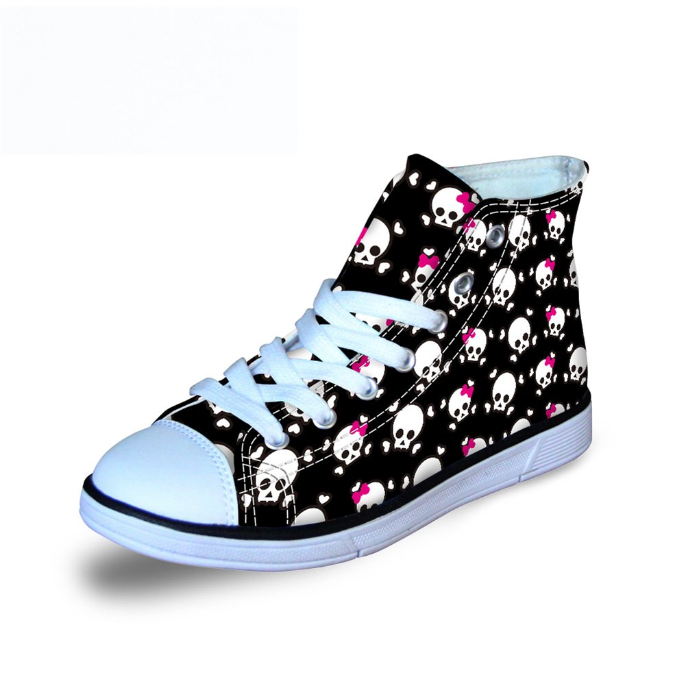 FOR U DESIGNS Charming Skull Lace Bows Printed Kids High-Top Lace Up Canvas Spring Summer Skate Shoes US 12