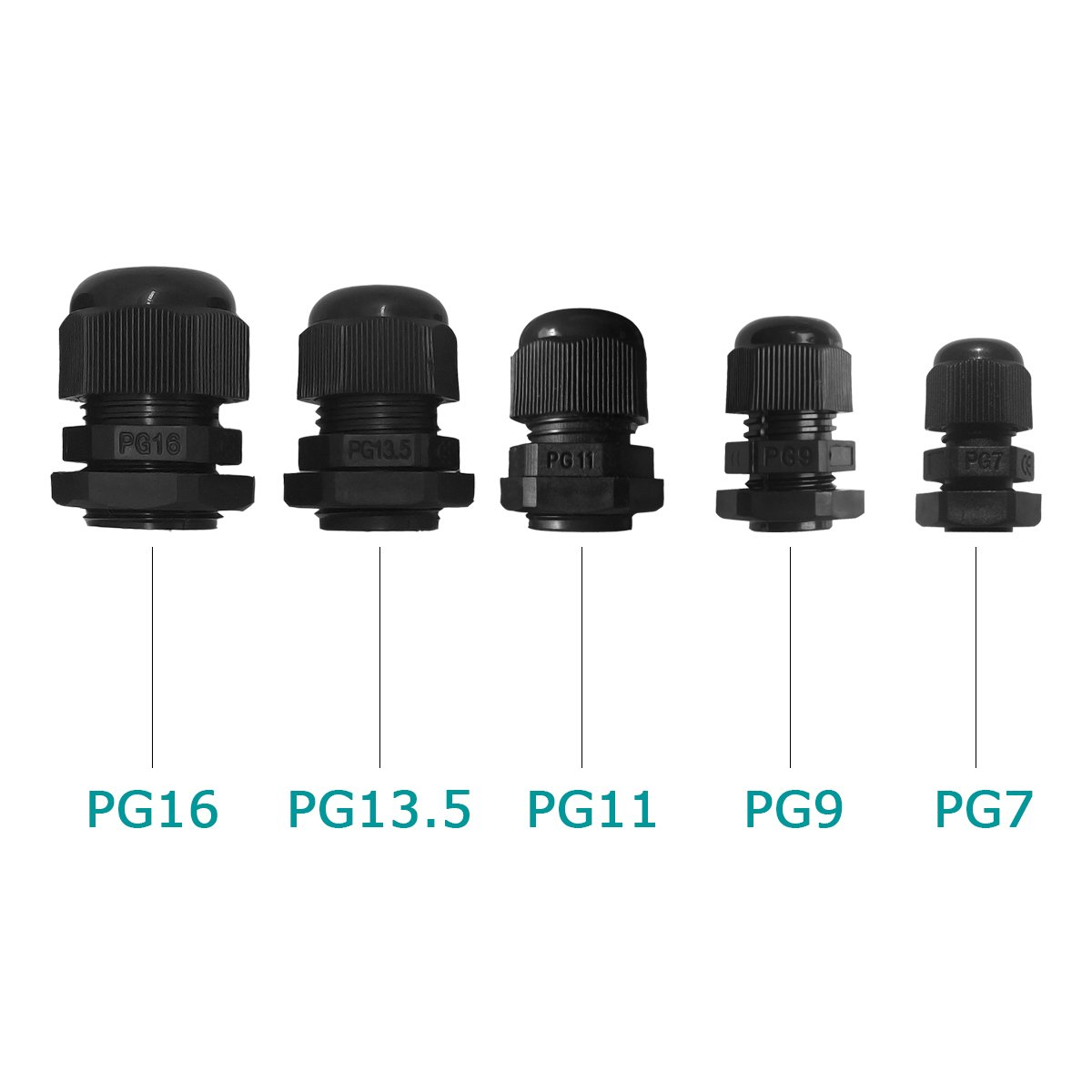 Pack of 50 PG13.5 Lantee Plastic Waterproof Adjustable 3.5-13mm Cable Glands Joints PG7 PG16 PG11 PG9