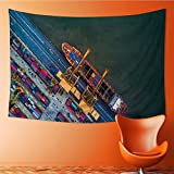 SOCOMIMI Magical Landscape Tapestry aerial view from drone container ship in import export and business for Bedroom Living Room Dorm(59W x 39.3L INCH)