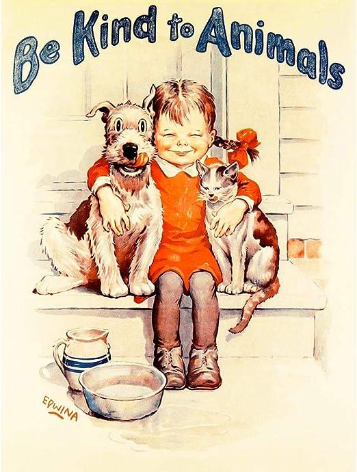 Propaganda política caridad Bienestar Animal Niño Gato Perro Tipo 12X16 enmarcado impresión