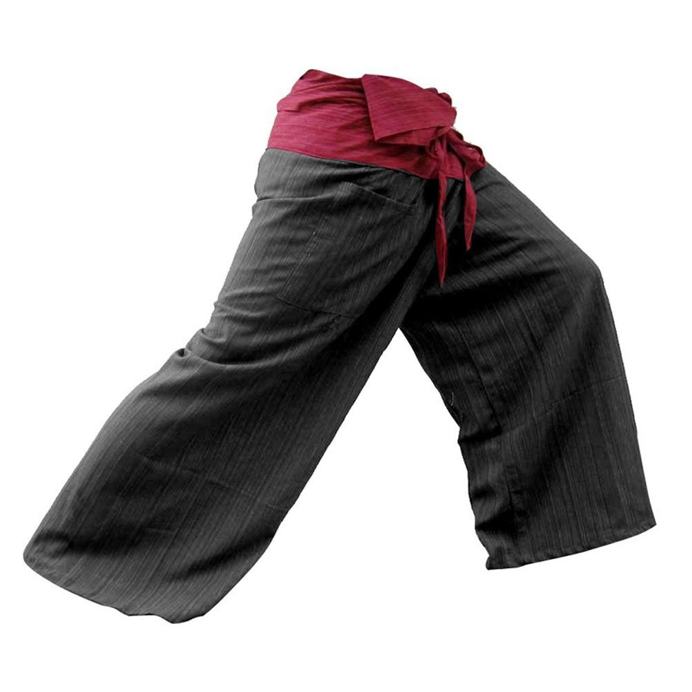 2 TONE Thai Fisherman Pants Yoga Trousers FREE SIZE Plus Size Cotton Red and Black eThai