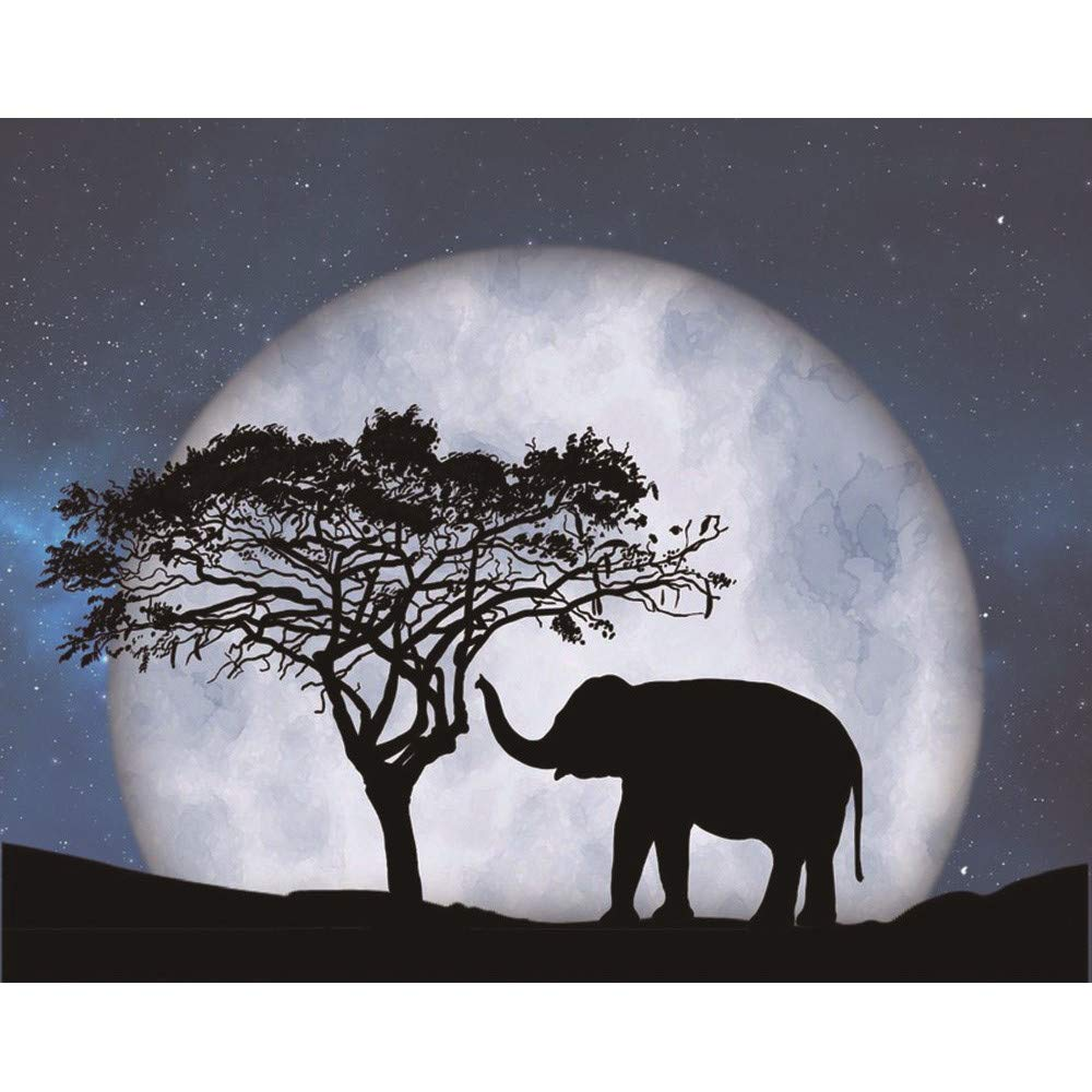 certainPL DIY 5D Diamond Painting by Number Kit, Partial Drill Rhinestone Embroidery Arts Craft for Adults, African Elephant Under The Moon, 9.8x11.8 inches