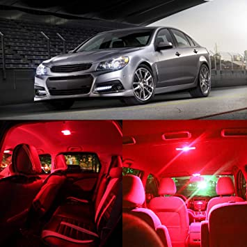 cciyu 7 x Pure rojo bombilla LED luces interior kit de paquete para Dodge Caliber 2007