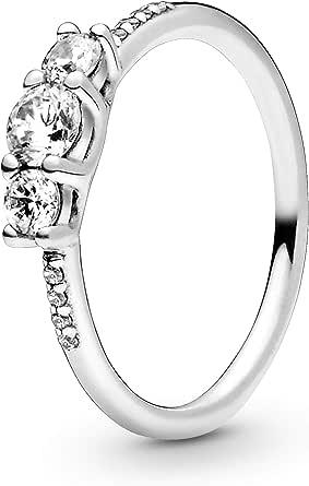 باندورا مجوهرات واضحة ثلاثة أحجار مكعب زركونيا الدائري في الفضة الاسترليني