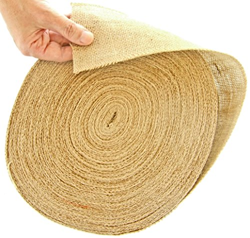 4 Inch Burlap Ribbon Roll. Massive 50 Yards No-fray Jute Spool by Drency