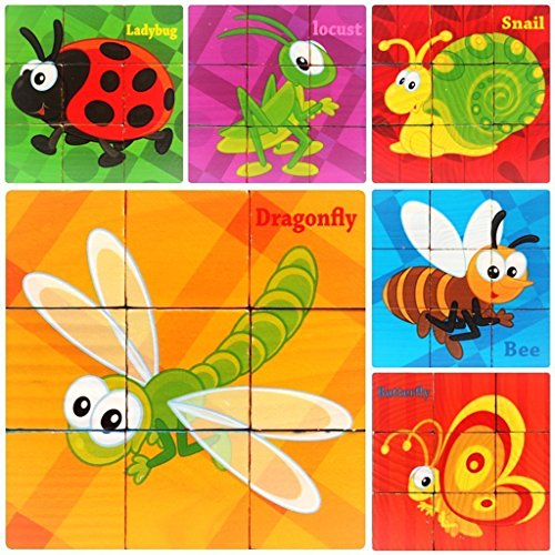 - PROW 9 Pcs Wooden Cube Block Jigsaw Puzzles, Insect World Pattern Blocks Puzzle Including Ladybug Bee Butterfly Locust Snail Dragonfly for 3 Year and Up Child