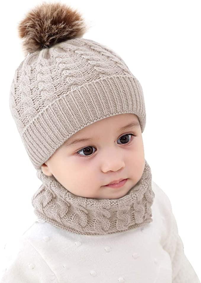 Baby Girls Boys Winter Beanie Hat Scarf Set Toddler Warm Knitted Hats Circle Scarf For Infant Newborn Winter Pom Hat Beige Clothing Amazon Com