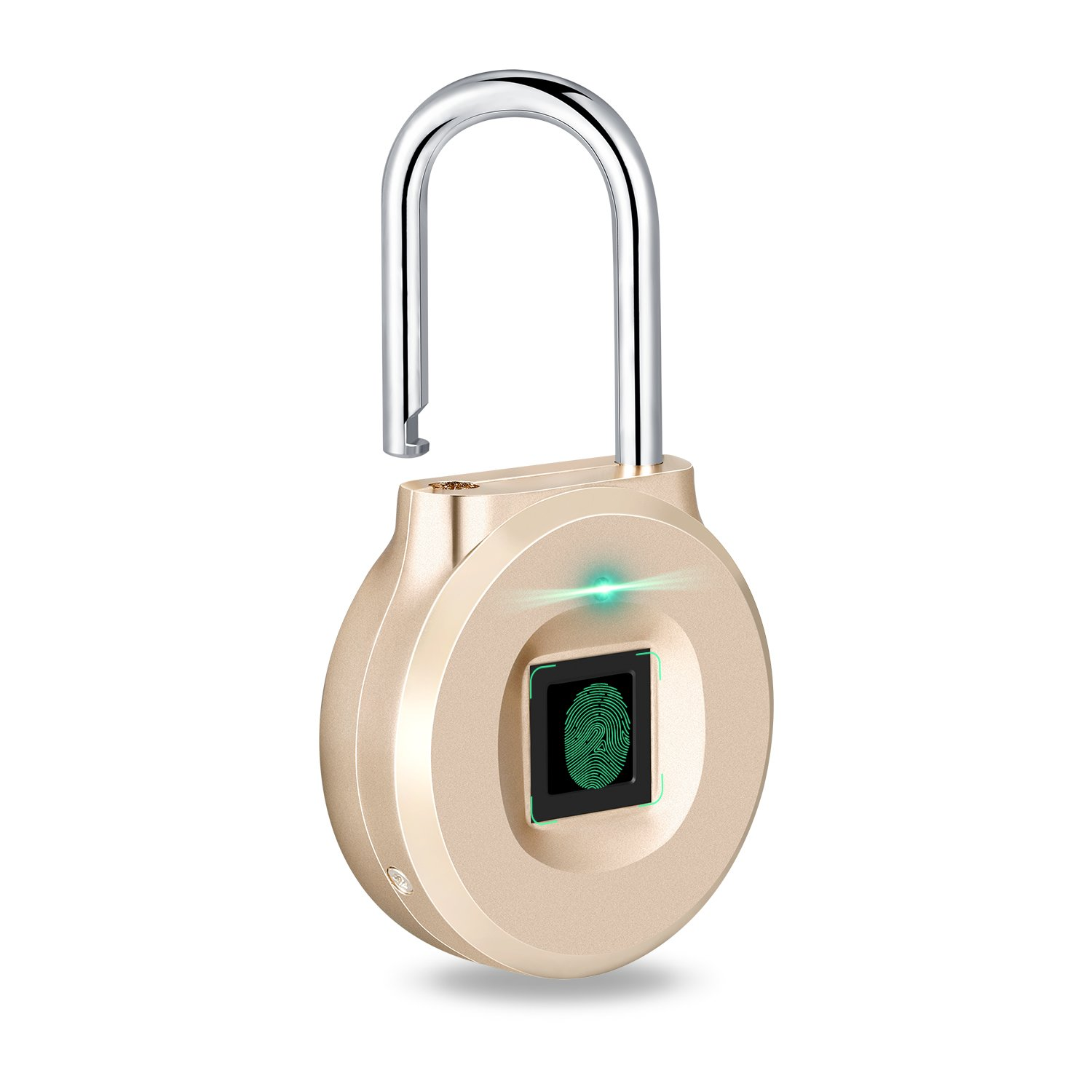 Uervoton Fingerprint Padlock, Smart Lock Ideal for Duffel Bag, Shopping Carts, Suitcase, Gym Locker, Cabinet, Cupboard, Drawer and more Indoor Applications (Small)