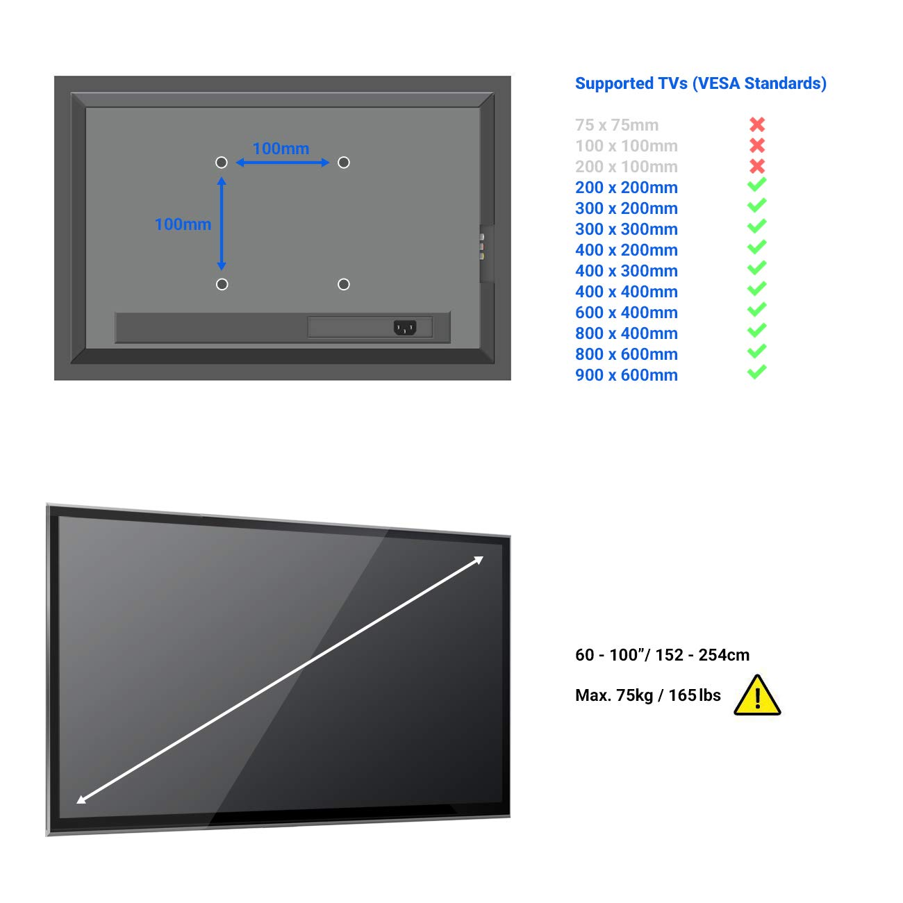deleyCON Universal TV Wandhalterung 60-100 Zoll 75Kg bis VESA 900x600 Plasma LCD LED OLED TFT Curved Fernseher Halterung 152-254cm Neigbar