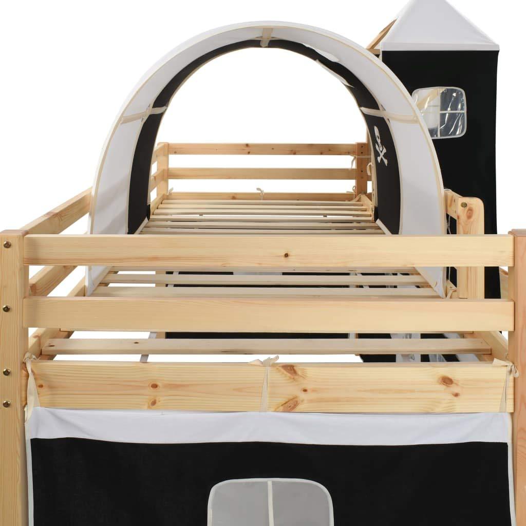 vidaXL Cadre de lit pour Enfant avec Toboggan et /échelle pour Berceau Pirate en pin 97 x 208 cm