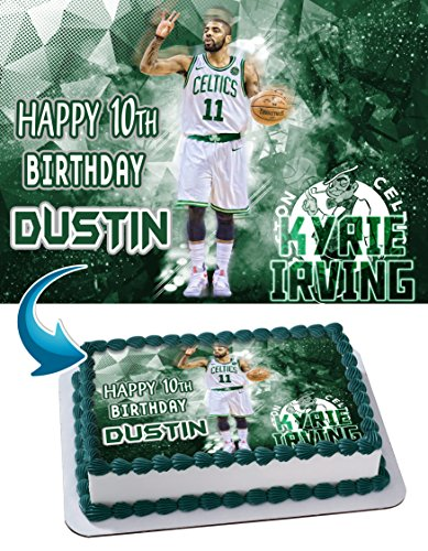Price comparison product image Kyrie Irving Boston Celtics Birthday Cake Personalized Cake Toppers Edible Frosting Photo Icing Sugar Paper A4 Sheet 1 / 4 ~ Best Quality Edible Image for cake