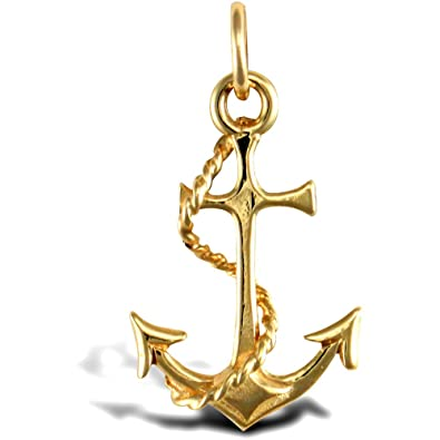 Jewelco London Solid 9ct Yellow Gold Anchor Charm Pendant RE0yl