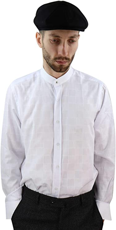 1920s Men's Fashion UK | Peaky Blinders Clothing Mens Peaky Blinders Shirt Removable Collar Penny Button Check Nehru Collarless £28.99 AT vintagedancer.com