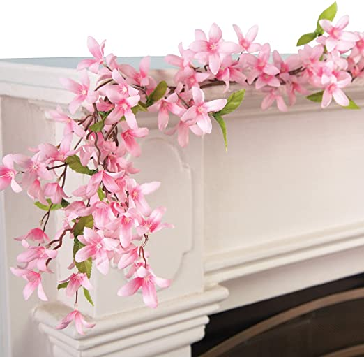 Amazon Com Collections Etc Spring Floral Forsythia Garland Pink