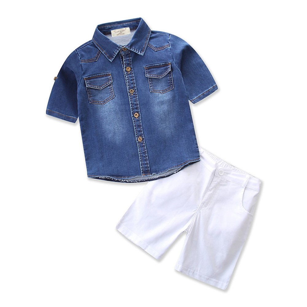 Baby Boy's Denim Short-Sleeved T-Shirt and White Short Pants Clothing Outfit Set