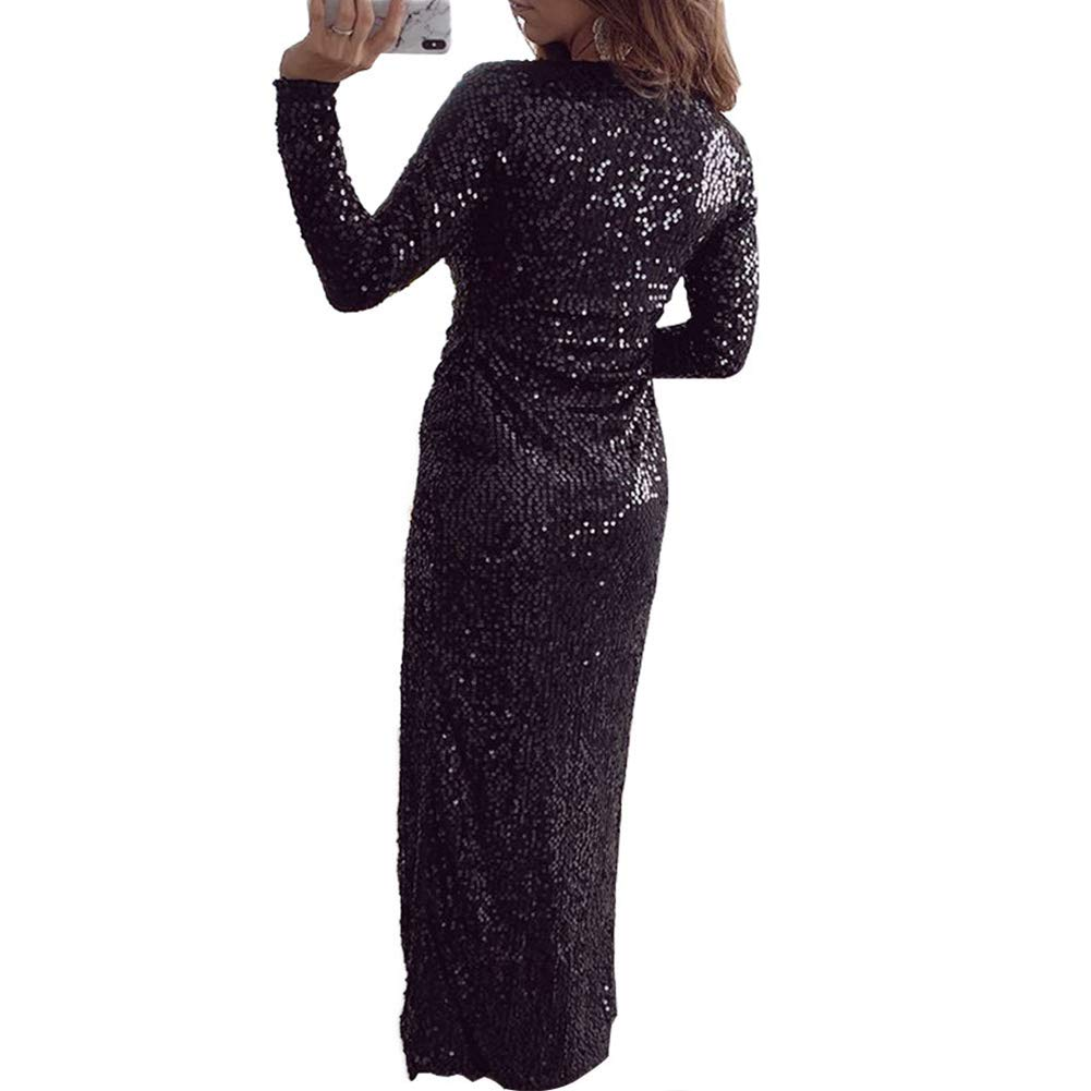 Womens Glitter Sparkling Deep V Neck Long Sleeve Side Split Party Dress Clubwear