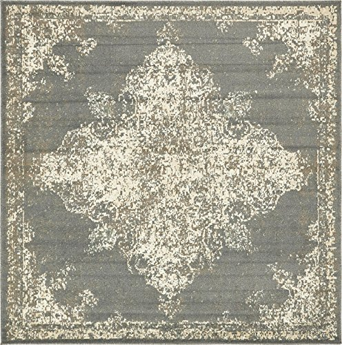 Unique Loom Tuareg Collection Vintage Distressed Traditional Gray Square Rug (8' x 8') (Square Gray Rug)