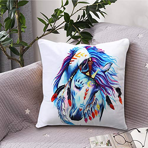 Throw Pillow Covers Velvet Decorative Pillowcase Horse Unicorn Printed Pattern Cushion Pillowcase Gift for Home Car Sofa Room Decor (Horse Room Decor Pillows)