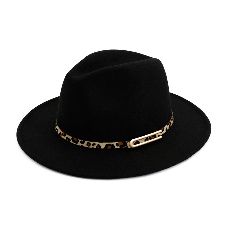 TokLask Fedoras Felt Wide Brim Jazz Fedora Hats for Women Trilby Derby Gambler Hat with Leopard Print Leather Buckle