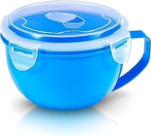 Microwave Bowl with Lid, Microwave Soup Bowl with Lid, Noddle Bowl for Ramen, Soup, Beverages, 30.43 Ounces, Blue