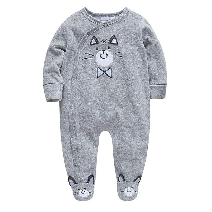 Tefamore Mameluco para 0-24 Meses Recien Nacido, Bebé Niños Niñas Invierno Monos Algodón Impresión Manga Larga Pijamas Peleles
