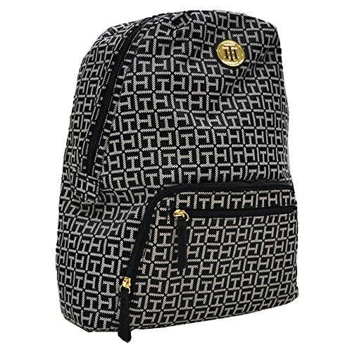 Tommy Hilfiger Womens Jacquard Backpack (Black White)