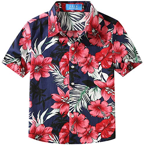 SSLR Big Boy's Floral Cotton Casual Button Down Short Sleeve Hawaiian Shirt (Medium, Navy (118-71)) (Hawaiian Boys)